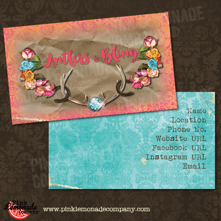 Antlers and bling business cards business card antlers and bling design colourmoves