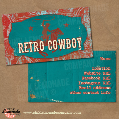 Retro cowboy business cards business card retro cowboy design reheart Image collections